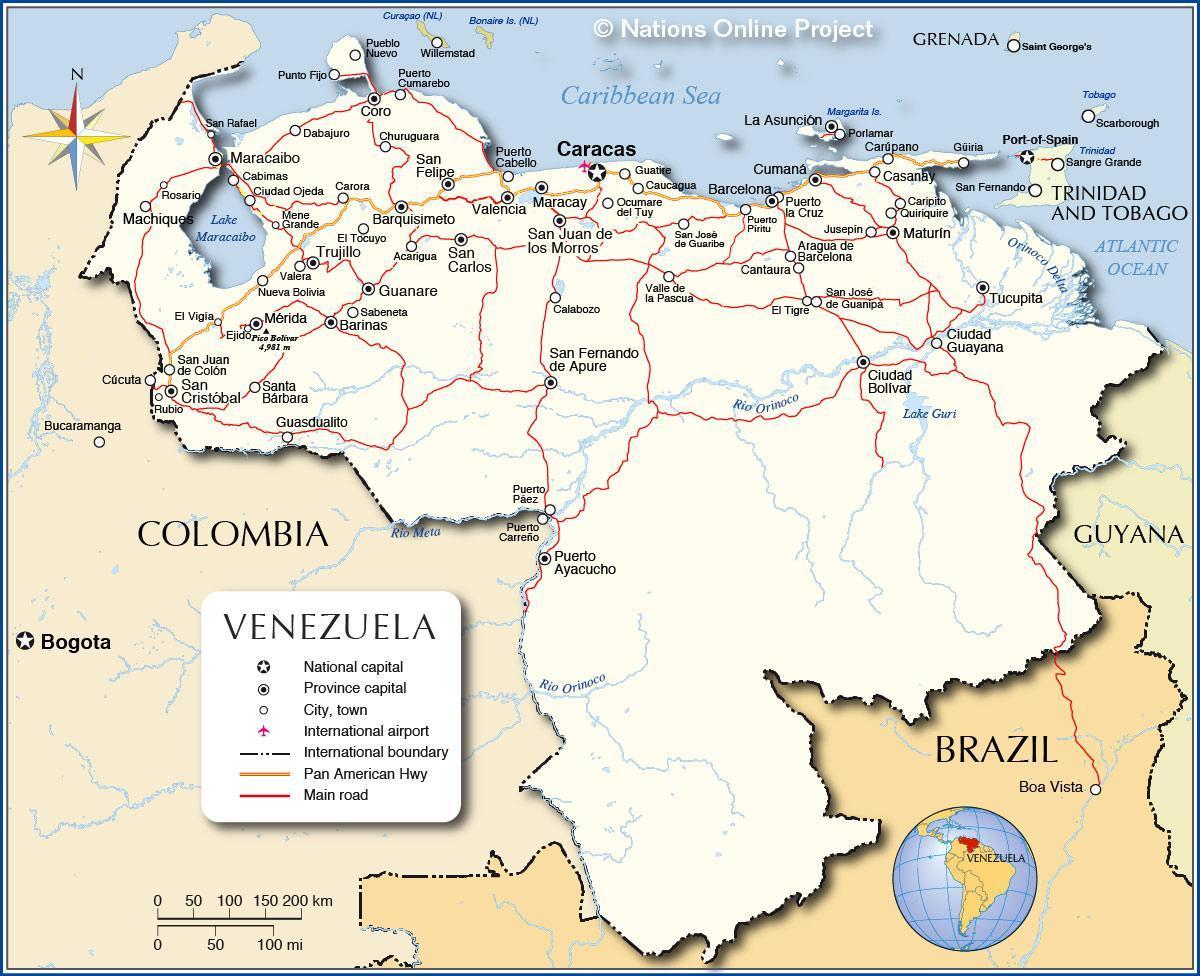 Kort I Venezuela Detaljeret Kort Over Venezuela Syd Amerika